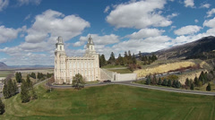 Aerial Mormon LDS Manti Utah Temple green hill HD 006 Stock Footage
