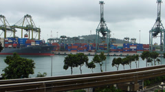 R/T Time Lapse  Singapore Container Cargo truck passing highway motorway Train - stock footage