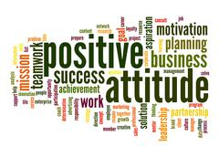 positive attitude word cloud - stock illustration