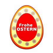 Frohe ostern over 3d easter egg with flowers Stock Illustration