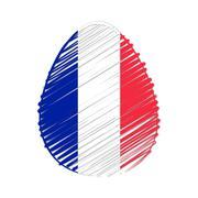 French flag in easter egg Stock Illustration