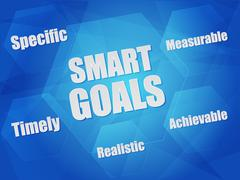 Smart goals and business concept words in hexagons Stock Illustration