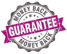 Money back guarantee violet grunge retro style isolated seal Stock Illustration