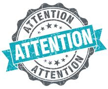 attention blue grunge retro style isolated seal - stock illustration