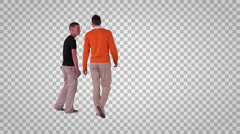 Two men going away from the camera (on transparent background) Stock Footage
