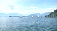 Sailing boats navigating in the sea Stock Footage