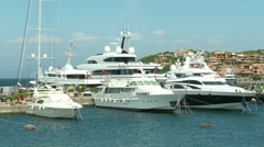 Luxury yachts docked in Porto Cervo Stock Footage