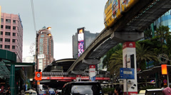Busy Bustle Kuala Lumpur KL monorail Train at shopping district Downtown Stock Footage
