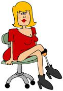 Pretty girl with an artificial leg Stock Illustration