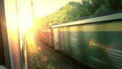 Sunrise side view from train Stock Footage