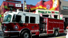 Halifax Nova Scotia New Scotland Canada 067 pizzeria and fire truck in downtown Stock Footage