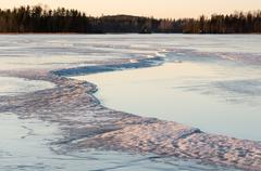 Dangerous crack in ice Stock Photos