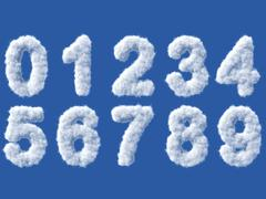 Stock Illustration of Cloud digits on white background