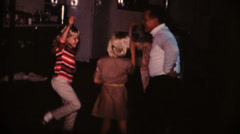 60's  vintage, Grandpa teaching girls dance Stock Footage