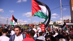 Muslim leaders and activists hold anti Israel protest death of martyrs Stock Footage