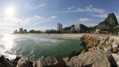 Barra Beach and Gávea Stone - Rio de Janeiro - Brazil Stock Footage