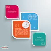 round colored quadrates template 4 options bevel line - stock illustration