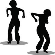 eps 10 vector illustration of dancer woman silhouette - stock illustration