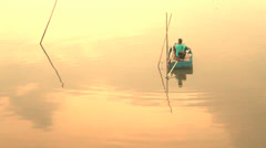 Ishermen boating relax on sunset, HD. Stock Footage