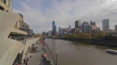 Wide angle of south bank and yarra river skyline on blue sky day Stock Footage