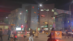 Evening at swanson street and federation square people crossing the street Stock Footage