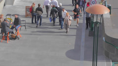 Birds eye view on south bank yarra river of people jogging and walking Stock Footage