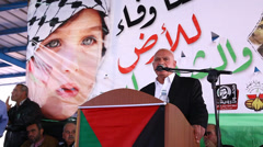 Muhammad Zidan speaks during Land Day Commemoration - stock footage