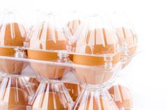 eggs packed isolated white background - stock photo
