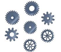 Set of abstract steel toothed wheels cogs, mechanism Stock Illustration