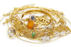 Large collection of gold jewellery Stock Photos