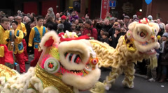 Chinese New Year London, Parading Dragons. - stock footage