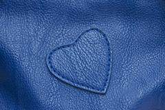 Natural qualitative blue leather texture. Stock Photos