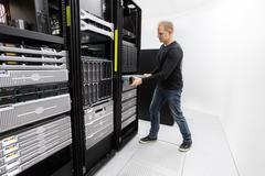 It professional install rack server in datacenter Stock Photos