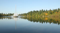 Vancouver, Lost Lagoon, Stanley Park Fountain Stock Footage