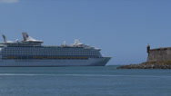 Stock Video Footage of cruise ship leaving port
