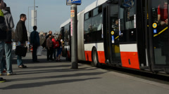 PRAGUE, CZECH REPUBLIC: Busy street and the bus stop with people Stock Footage