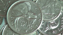 Coins, Canada, Canadian, Money, Currency Stock Footage