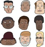 nine men looking up - stock illustration