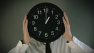 Stock Video Footage of Time management. Businessman with clock in front of his head