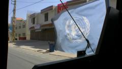 Vehicle UN flag Stock Footage