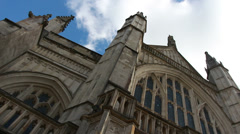 Looking up at Winchester Cathedral, UK Stock Footage