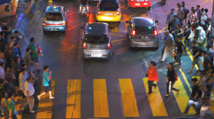 Time Lapse Busy Bustle Rush hour Malaysia Downtown Kuala Lumpur KL commuters Stock Footage