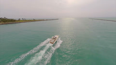 Aerial video boating in the waters of Miami - stock footage