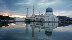 Timelapse Sunrise at Likas Mosque,Sabah,Malaysia Stock Footage