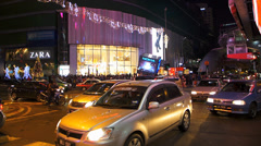 Busy Bustle Rush hour Malaysia Downtown Kuala Lumpur KL shopping district Stock Footage