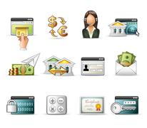 Banking and On-Line Transaction icon set Stock Illustration