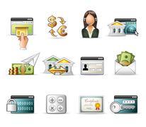 Banking and On-Line Transaction icon set - stock illustration