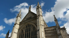 Light changing on Winchester Cathedral Stock Footage