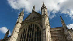 Clouds (speeded up) around Winchester Cathedral Stock Footage