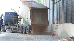 truck unloading wheat in silver silos - stock footage